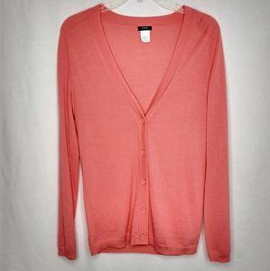 J Crew Small 100% Merino Wool Pink Cardigan